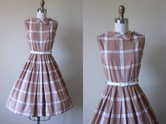 50s Dress - Vintage 1950s Dress - Neutral Brown Plaid Cotton Full Skirt Sundress M L - Toffee Chip Dress by jumblelaya on Etsy