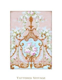 French Roses Instant Download No126 Antique Wallpaper Collage Sheet Tattered Vintage 126