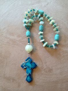 Handmade Anglican-Christian prayer beads using beach glass & stone.