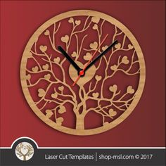 product laser cut template wall clock heart tree branch design online template store
