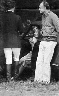 """May 22, 1982: Prince Charles, Princess Diana with Major Ronald Ferguson, (Sarah """"Fergie"""" Ferguson's father), at the polo grounds of the Guards Club, Windsor. (pregnant with William)"""
