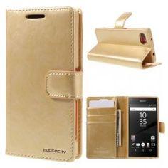 Sony Xperia Z5 Compact samppanjan kultainen puhelinlompakko.