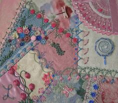 I ❤ crazy quilting & ribbon embroidery . . . delicate and beautiful !- Completed Encrusted Block ~By Lin Moon