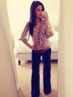 everyday flares and printed blouse... I LOVE trouser jeans! Good find @Ashley Walters Walters Walters Morrison