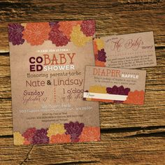 Fall baby shower Invitation Kit Co-ed by PaisleyDayneDesign