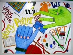 Sign Language Initials Self Portrait.  7th grade