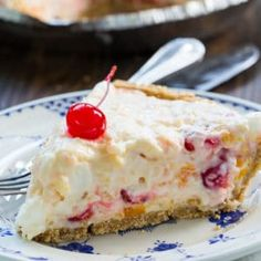 Ambrosia Pie has all the yummy flavor of an Ambrosia Salad in a delicious graham cracker crust. It's an easy, no-bake pie that is ideal for spring and summer parties and potlucks. The filling is full of oranges, pineapple, coconut, and cherries.