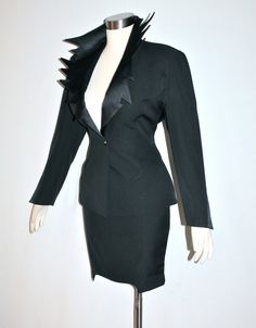 Vintage THIERRY MUGLER Suit Iconic Black Satin by StatedStyle, $825.00
