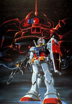 The iconic designs of the Gundam (bottom) and Zaku II (top) from the anime Mobile Suit Gundam. Samurai, Japanese Superheroes, Gundam Wallpapers, Gundam Mobile Suit, Gundam Art, Mecha Anime, Super Robot, Japanese Cartoon, Old Anime