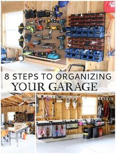 Garage organizing tips to get your garage in order and set up a DIY workshop. 8 simple garage organizing tips to get this space in shape to use for all of your storage and DIY workshop needs. Organisation Hacks, Garage Organization Tips, Workshop Organization, Storage Hacks, Organizing Tips, Storage Ideas, Organizing A Garage, How To Organize Garage, Garage Storage Solutions