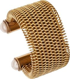Chanel Gold Runway Mesh Cuff with Gripoix Pearls