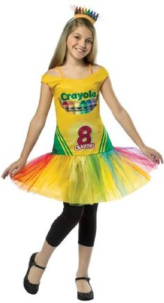crayola crayon box tutu dress tween costume is colorfully cute with its tutu dress and crayon headband this halloween will be a box of fun with this bright - Fun Teenage Halloween Costumes