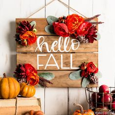 """Say """"hello fall!"""" with an easy DIY pallet sign! (Diy Wreath Twig) - 2019 Home Ideas Fall Pallet Signs, Fall Wood Signs, Diy Wood Signs, Fall Crafts, Diy Crafts, Wood Crafts, Palette Diy, Home Decoracion, Autumn Decorating"""