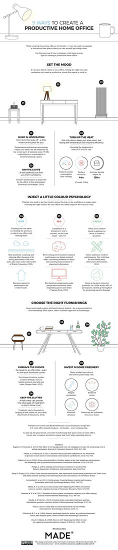 What Are 9 Ways For Creating A Productive And Creative Home Office? #infographic