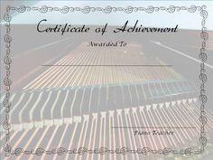 Free, editable piano lesson certificates.