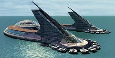Coastal city design by Jacque Fresco, founder of The Venus Project based in Venus, FL. Creating Sovereign Governance Systems for all people asc. Villa Architecture, Futuristic Architecture, Amazing Architecture, Futuristic City, Futuristic Design, Mini Mundo, Futuristisches Design, Future Buildings, Colani