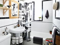 DIY Barbershop-Style Bathroom >> http://www.diynetwork.com/bathroom/teen-boyrsquos-barbershop-style-bathroom/pictures/index.html?soc=pinterest