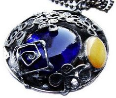 Amber nephfite Blue Glass vintage antique by GepArtJewellery, $59.00