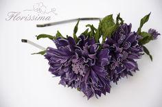 Leather purple cornflower headband