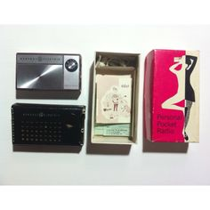 General Electric P1760 transistor radio (1966) with leather case, mono earpiece, manual/waranty card, original box.