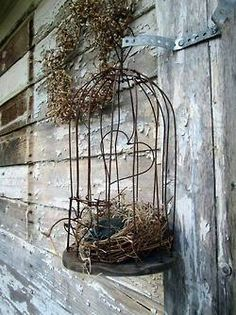 Antique wire birdcage