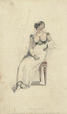 August evening dress, 1813 England, Ackermann's Repository