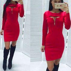 Sexy Vestir Delgado A-line Indumentaria O Cuello Sujetador Abierto Vestidos Mujer Cremallera Mini Falda Vestidos De Fiesta Encantador Vestido De La Oficina -Rojo