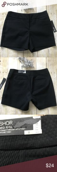 """Apt. 9 Black Textured Shorts New with tags. New condition. Black with great texture. Zipper, hook & clip and button closure. Size 8. Inseam 5"""". Measurement accords waist lying flat is 16"""". 65% polyester 34% rayon and 1% spandex.  ❌ No trades or off Poshmark transactions.   👌🏻Quick shipping.   💁🏻Offers welcome through """"Make an Offer"""" feature.   👗👠 Bundle discount.   ❔ Feel free to ask any questions. Apt. 9 Shorts"""
