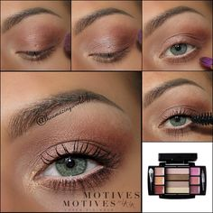 Motives by Loren Ridinger - So simple and beautiful by Theamazingworldofj using Motives Compact Beauty Palette! Get the look: 1. Apply the Motives Eye Base all over the lid 2. Use the brown shade from the palette as transition shade, on the outer v & along the lower lash line & blend it out 3. Use the greyish mauve shimmer on the rest of the lid & highlight the inner corner with a bit of the gold 4. Apply mascara & you're done!.