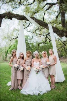 champagne bridesmaid dresses @weddingchicks