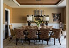Love this wallpaper and dining room