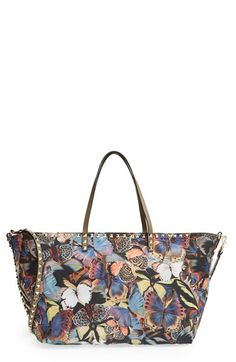 Valentino 'Camu Butterfly Rockstud' Nylon Tote available at #Nordstrom
