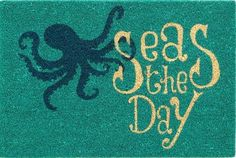 Seas the day turquoise octopus doormat! Featured here: https://www.facebook.com/CoastalBeachBlissLiving/photos/a.128908803835246.19702.128847517174708/1089619174430866/?type=3&theater Seas EVERY Day!
