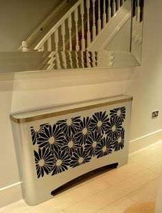 Modern hallway radiator cover in floral DAISIES design