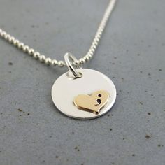 Semicolon Silver Gold Necklace- Original Design by Stamped Under The Moon.