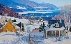 "Louise Martineau - "" Une journée baignée de soleil en Charlevoix "" Canadian Painters, Canadian Artists, Winter Painting, Winter Art, Landscape Art, Landscape Paintings, Landscapes, Artist Painting, Painting Prints"