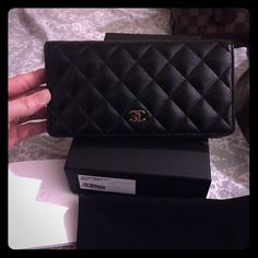 chanel wallet in calfskin with gold hardware bought on November 2015,worn 2 times.so look like new CHANEL Bags Wallets