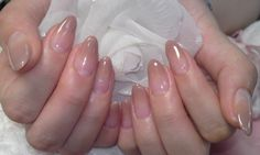 nude french tip almond nails. Simple, manicured but interesting -love