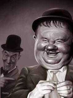 Stan Laurel et Oliver Hardy Laurel Et Hardy, Stan Laurel Oliver Hardy, Funny Caricatures, Celebrity Caricatures, Cartoon Faces, Funny Faces, Films Western, Famous Cartoons, Caricature Drawing