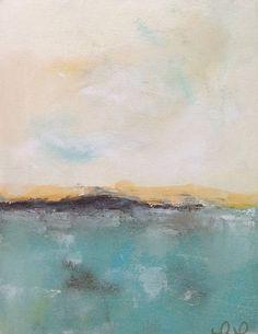 Calm Blue Abstract Seascape Original Art  Abstract by lindadonohue, $145.00