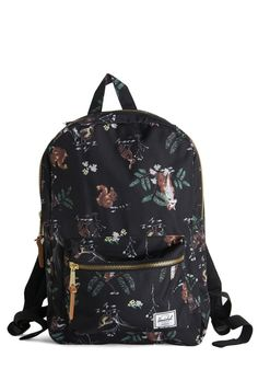 It's the Critter Things Backpack. Little makes you squeal with delight quite like the squirrels, foxes, and owls on this black Herschel Supply Co. #black #modcloth