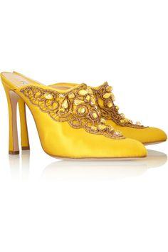 Oscar De La Renta Mina Embellished Satin Mules in Yellow