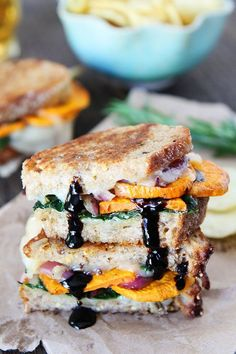 Sweet Potato and Kale Grilled Cheese Recipe on twopeasandtheirpod.com  LOVE this grilled cheese sandwich! The BEST comfort food!