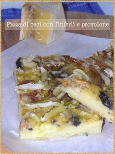 Pizza di ceci con finferli e provolone - (Pizza chickpeas with chanterelle mushrooms and provolone)