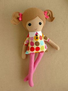 Fabric Doll Rag Doll Light Brown Haired Girl in Multi Colored Polka Dotted Dress