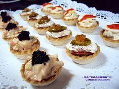 ¡¡A COCINEAR!! Recetas valkicocina.com: MINI TARTALETAS DE APERITIVO VARIADAS Lunch Buffet, Canapes, Churros, Mini Cupcakes, Finger Foods, Catering, Cheesecake, Appetizers, Cooking