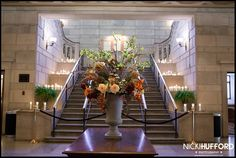 Ballroom Lobby decorated staircase Wedding Stambaugh Auditorium Youngstown, Ohio
