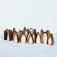 3 penguin figures, wood wooden penguins handmade Walnut and maple. all are about 1 wide each is handmade: exact shapes will vary also available with string as christmas ornaments Lathe Projects, Wood Turning Projects, Diy Wood Projects, Woodworking Projects, Whittling Projects, Woodworking Lathe, Whittling For Kids, Wooden Animals, Wood Lathe