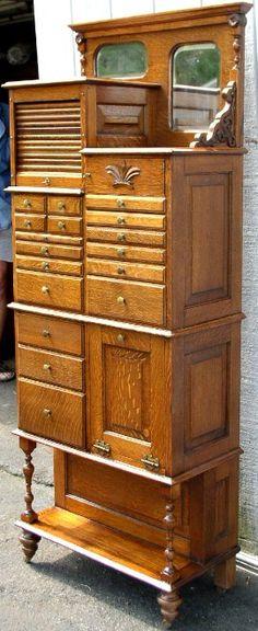Unusual Cabinets very unusual tall oak dental cabinet, american cabinet co, brass