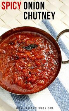 South Indian Vegetarian Recipes, Indian Dessert Recipes, South Indian Chutney Recipes, Onion Chutney Indian, South Indian Breakfast Recipes, Healthy Indian Recipes, Veg Recipes, Curry Recipes, Cooking Recipes